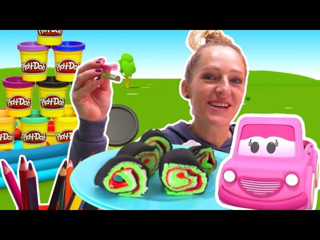 Nicole macht Sushi aus Playdoh Knete – Kneten und lernen – Lehrreiche Videos auf Deutsch