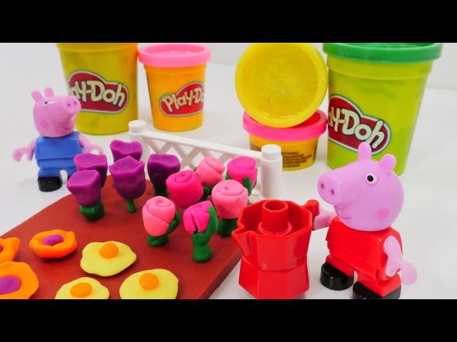 🐽 Videos PlayDoh: PeppaWutz und Nicole kneten Blumen💐PeppaPig auf Deutsch 🌼 Play Doh VIdeos