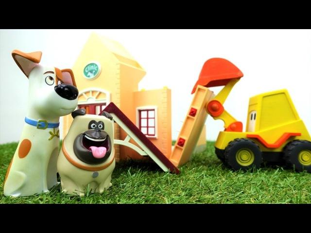 Экскаватор Макс строит больницу для игрушек. Видео на английском языке.