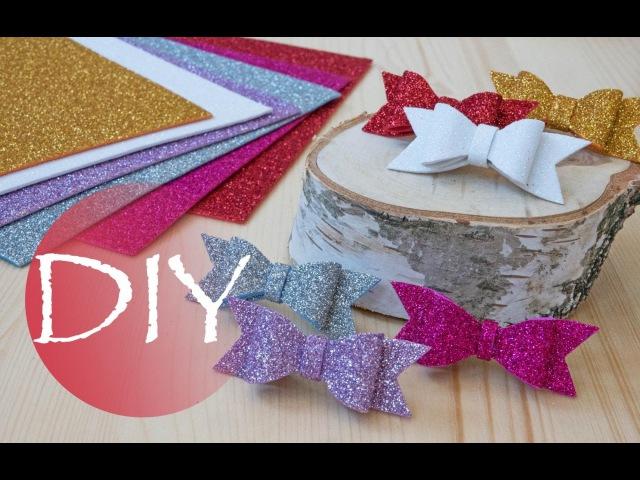 Глиттерный фоамиран, детские заколки бантики /Glitter foam, baby hair clips bows