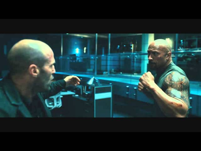Форсаж 7 - Джейсон Стэтхэм vs Дуэйн Джонсон Fight (HD 1080p)