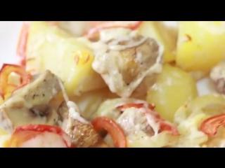 Запеченная картошка с грибами