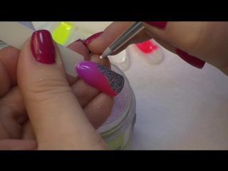 Дизайн ногтей дотсом. Гель-лак, присыпка акрилом. Часть 2. - YouTube