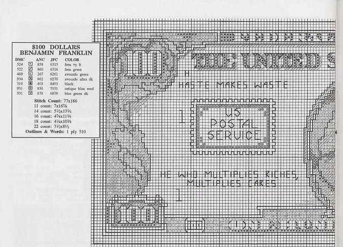 доллар схема для вышивки