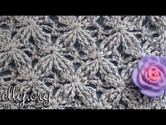 ♥ Узор крючком Бархатные звезды Embossed Velvet Star Crochet Stitch Punto Lazos en Relieve