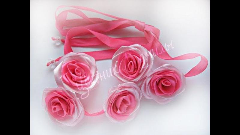 Мастер-класс Канзаши.Цветы Канзаши из атласных лент.Лента в косу/Kanzashi flowers from satin ...