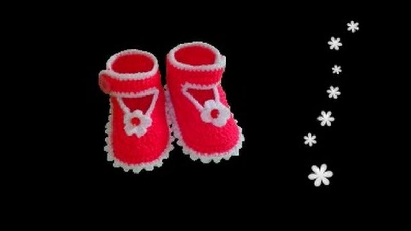 Чудо босоножки пинетки крючком для девочки 5-9 месяцев.часть2