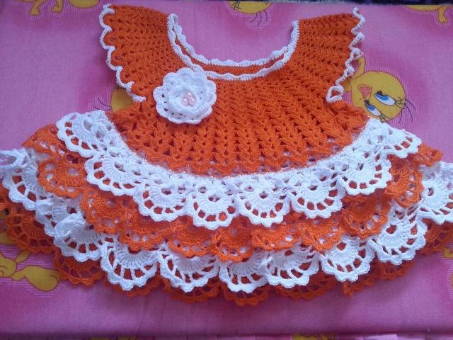 Вязание. Вяжем платье на малышку ЛУЖОК. Часть 3.( knit dress baby)