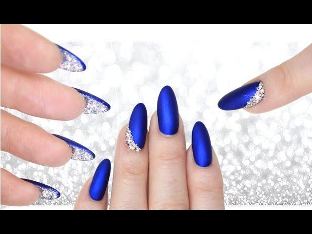 LUXE BLUE VELVET DIAMOND PEEKABOO NAILS - DOUBLE SIDED MANI CRYSTAL NAILART