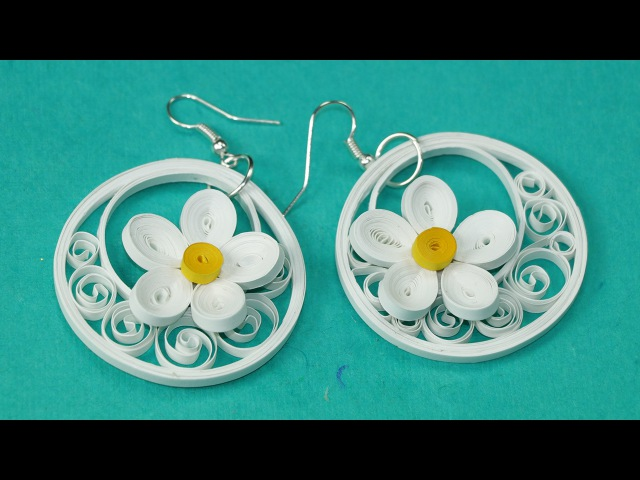 Quilling Earrings - White Flower Quilled Jhumkas Making