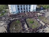 Донецк, 19 октября, 2016 . Ukraine_ Drone shows thousands attending funeral of DPR fighter Motorola