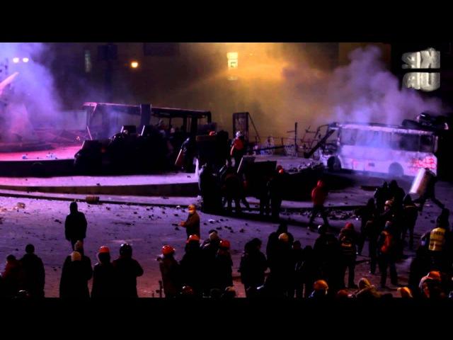 19 01 Грушевского затянуло газом, демонстранты бросают камни в сторону правоохраните...
