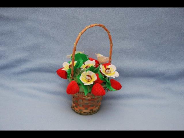 Корзина клубники из конфет. Подарок своими руками. basket of sweets strawberries