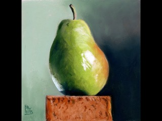 Time Lapse pastel painting of a pear demo