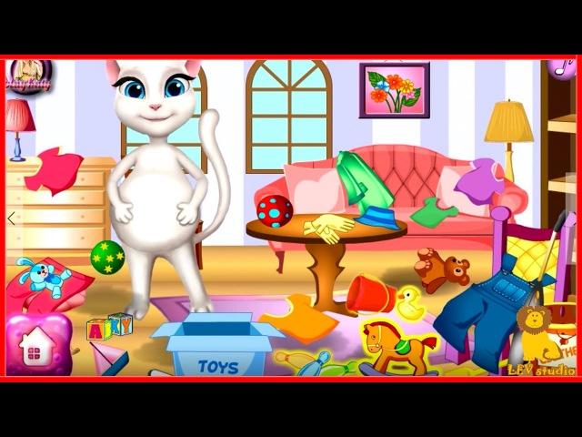 Беременная кошка АНЖЕЛА убирает комнату Мультик игра от канала LEVstudio