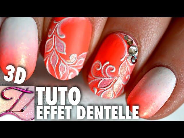 Tuto nail art dentelle fine en relief, idée ongles courts