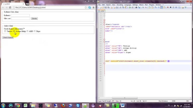 Yakın Kampüs - Javascript Ders 30 - Javascriptte Çoklu Formlar ve checked Komutu