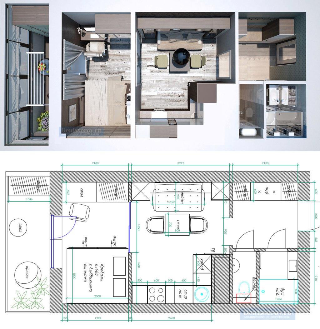 Концепт студии 25 м (метраж указан на сайте дизайнера, но по размерам плана выходит порядка 28 м без лоджии).