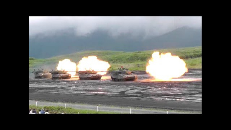 神業!90式戦車・行進間射撃!陸上自衛隊・富士総合火力演習、type90tanks mir