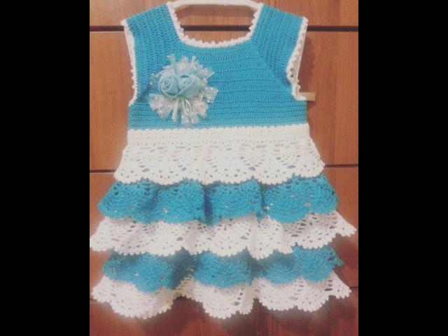 Вязанное платье на девочку. Часть 3. Рюши.