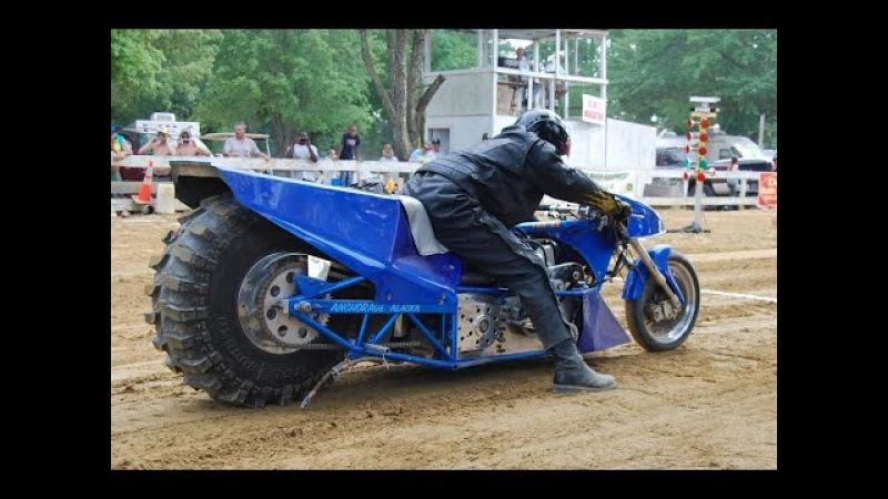 100 кмч за 0,7 секунды -Top Fuel Motorcycle Dirt Drag Racing