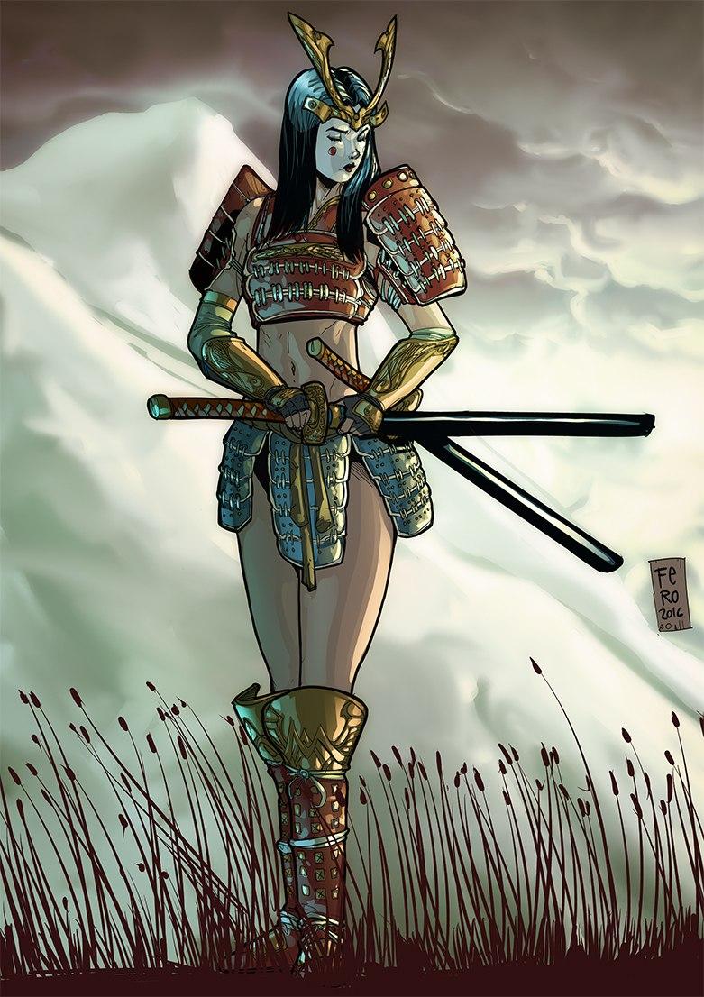 японка девушка самурай