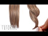 Tutorial How to draw realistic brown straight and curly hair with colored pencils Emmy Kalia