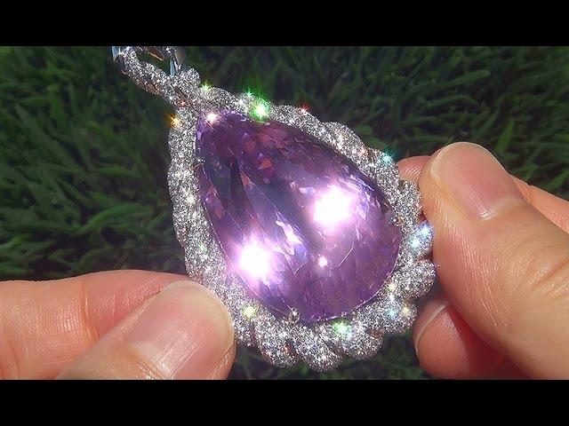 WORLD'S Largest GIA Certified VVS1 Natural Pink Kunzite Diamond 18k White Gold Pendant - C629