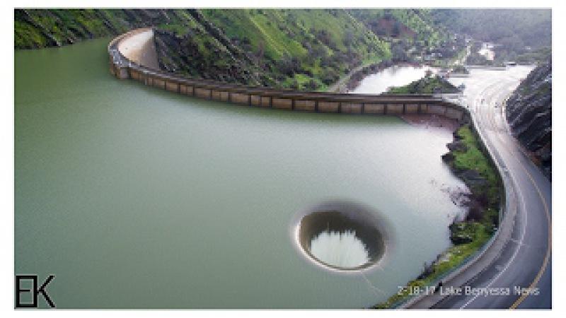 Overflowing Glory Hole Spillway at Lake Berryessa Drone Report - Lake Berryessa News 2-18-17
