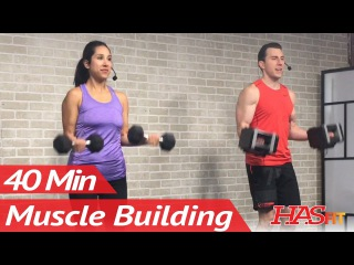 40 Min Arm Workout for Women & Men at Home with Weights for Mass - Muscle Building Bicep and Tricep