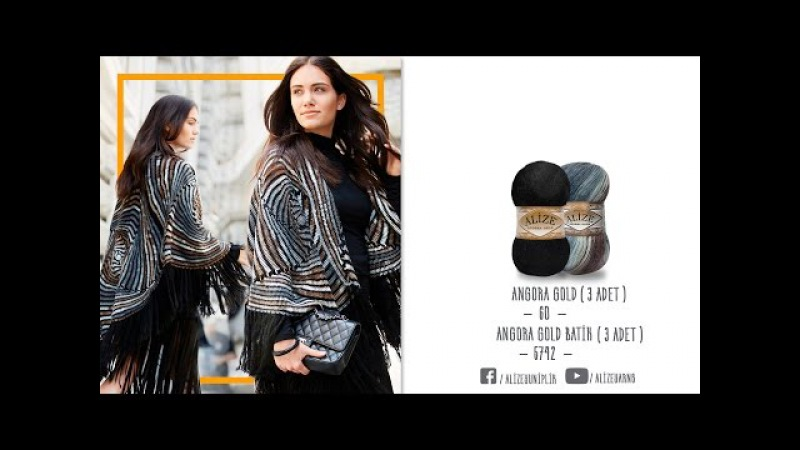 Alize Angora Gold Batik ile Panço Yapımı Making Poncho with Alize Angora Gold Batik