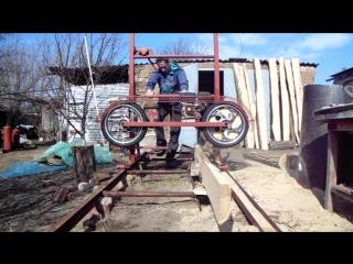 Пилорама на колёсах от мопеда .
