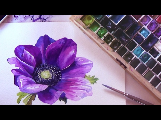 HOW TO PAINT A FLOWER IN WATERCOLOR. Tutorial Step by Step. 🌺 Anemone🌺