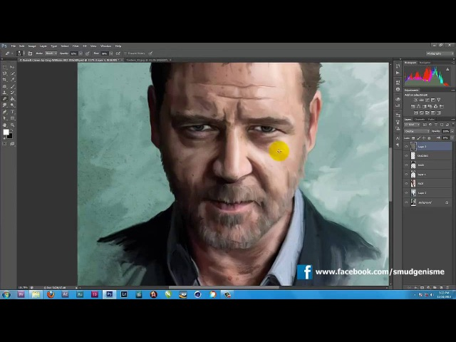 Russel Crowe - Smudge Painting