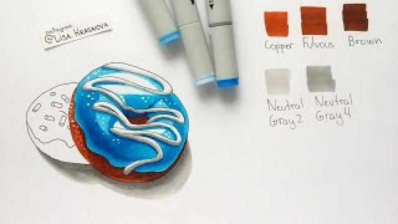 Видеоурок маркерами Sketchmarker - video tutorial by sketchmarker markers - Donuts