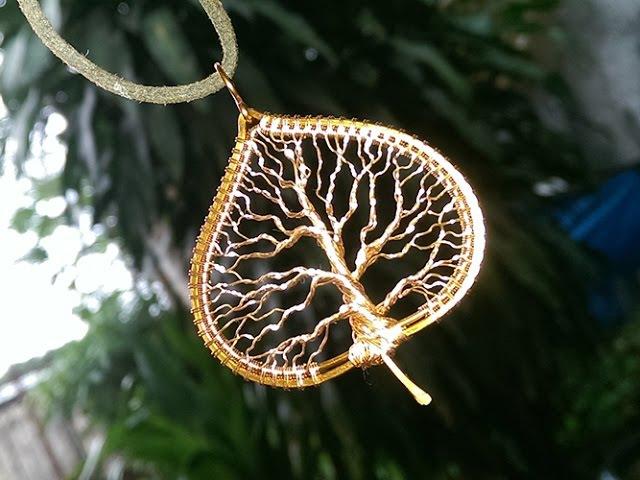 Tree of life in the leaf pendant - Tutoriais de jóias artesanais 245