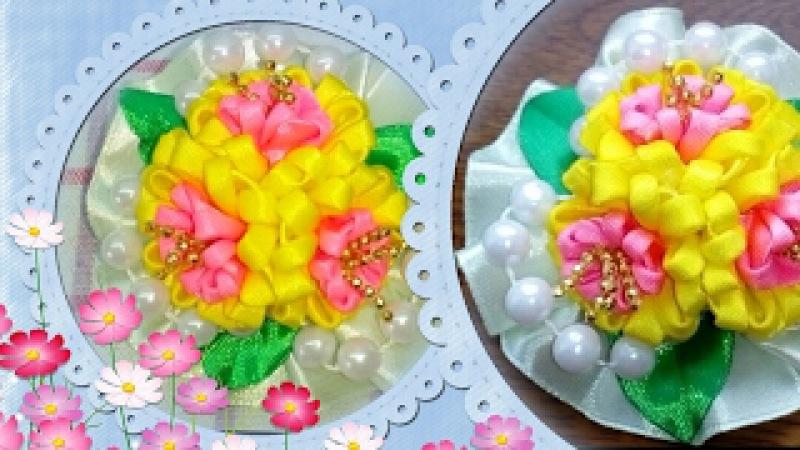 Букет из цветов канзаши с кучерявыми лепесточками.kanzashi bouquet of flowers with interesting petal