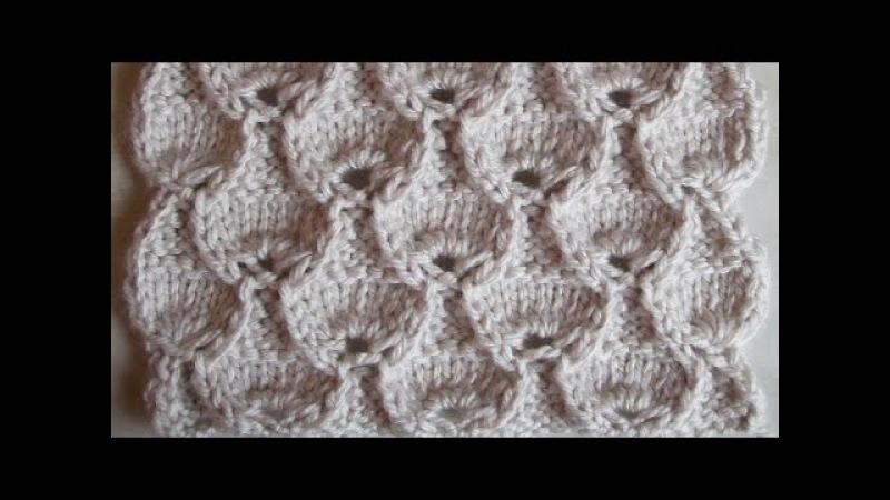 Объемный ажурный узор Вязание спицами Видеоурок 91
