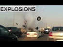 Car Explosion caught on dash camera! (Explosions of gas cylinders on dashcam)-Road accidents footage