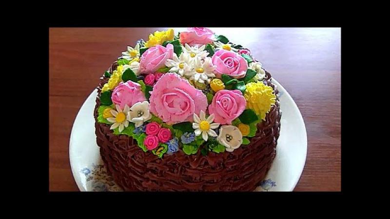 Бисквитный торт Корзина с цветами Cake basket of flowers
