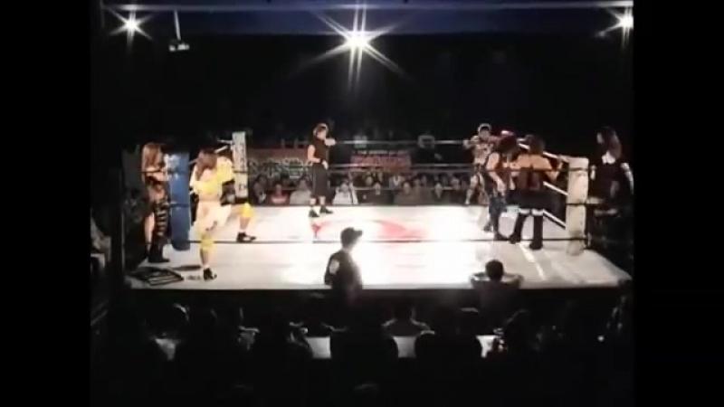 Carlos Amano, GAMI, Manami Toyota vs. Chikayo Nagashima, Hiren, Mayumi Ozaki (OZ Academy) (2)