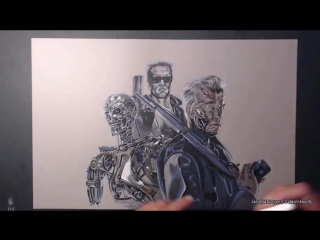 The terminator time lapse drawing video by Rik Wilkinson