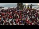 Нашествие Дедов морозов в Рыбинске 1500 дедов морозов Съемка с квадрокоптера