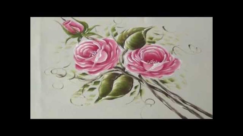 Como pintar Rosas rosadas en Tela (2/2)