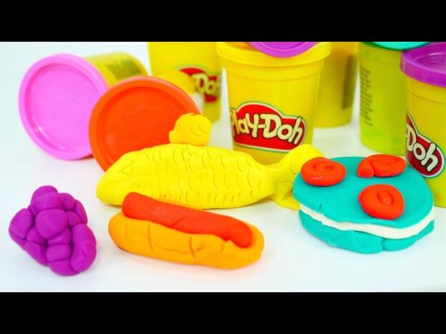 Spielspaß mit PlayDoh Set: wir kneten das Essen! 🍇🍰 🍴 Tolles Play Doh Video auf Deutsch!