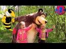 Маша и Медведь Прогулка с Мишкой на Природе Прыгаем на Батуте и прячемся в домик ...