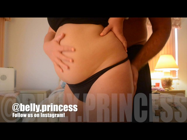 Standing up feeder/feedee fat belly play
