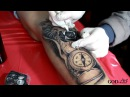 Тату ЛЕВ на ноге Tattoo on the leg LION