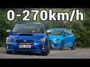 Ford Focus RS vs Subaru Impreza WRX STI vs Audi RS3 vs A45 AMG - 0-270km/h, Revs Exhaust Sound