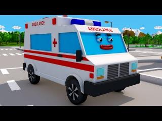Ambulans, Polis arabası ve Yarış Arabası - Üç küçük araba Arkadaşları Yardım Ediyor - 3D çizgi film